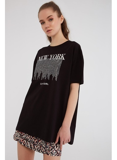 Modaset Taş Işlemeli Boyfriend T-Shirt  Siyah